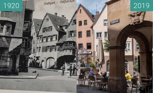Before-and-after picture of Stuttgart - Hans-im-Glück-Brunnen between 1920 and 2019-May-26