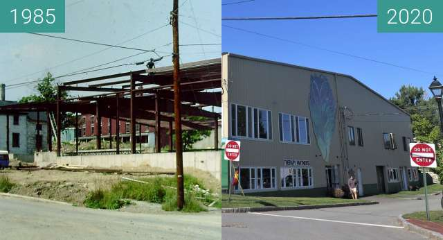 Before-and-after picture of Mathews Brothers Showroom Belfast, Maine between 1985 and 2020-Sep-04