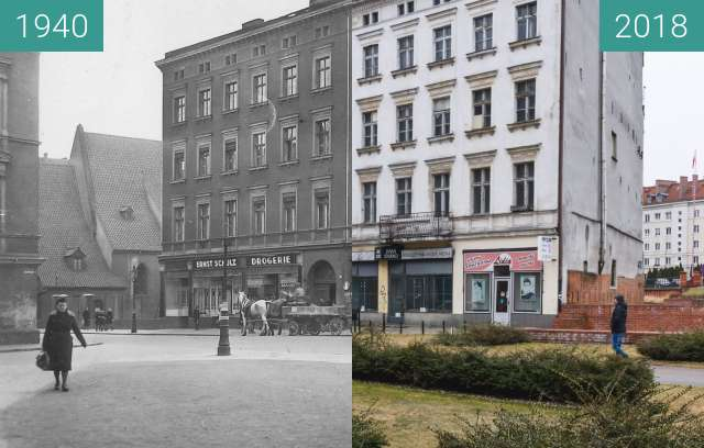 Before-and-after picture of Ulica Wroniecka between 1940 and 2018-Mar-15