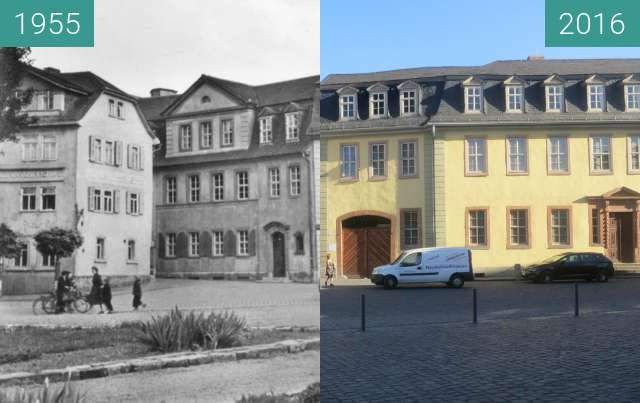 Before-and-after picture of Gasthof zum Weißen Schwan und Goethehaus between 1955 and 2016-Aug-18