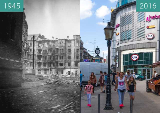 Before-and-after picture of Polwiejska Street, 1945 between 1945 and 2016