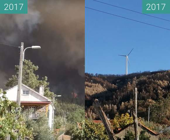 Before-and-after picture of Portuguese village during and after a wildfire between 2017-Oct-15 and 2017-Nov-21