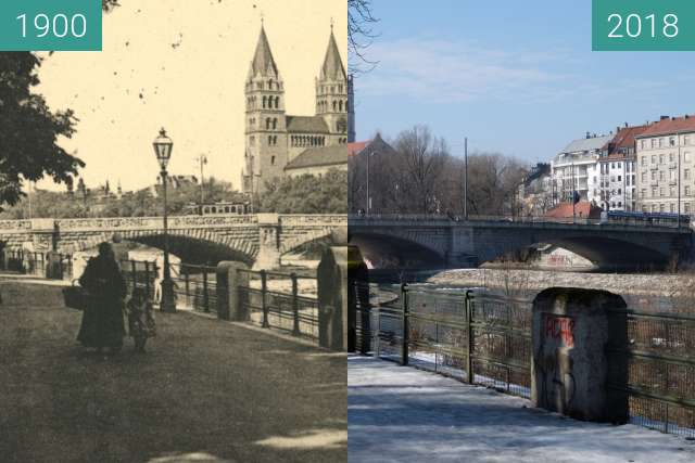 Before-and-after picture of München-Maximilianskirche (1) between 1900 and 2018-Mar-04