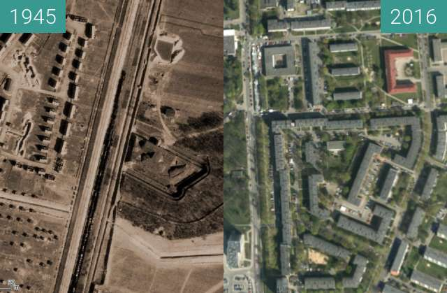 Before-and-after picture of Dębiec between 1945 and 2016