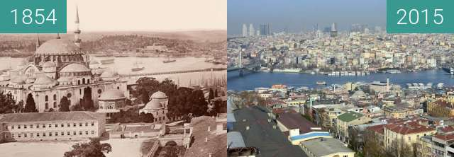 Before-and-after picture of Haliç between 1854 and 2015
