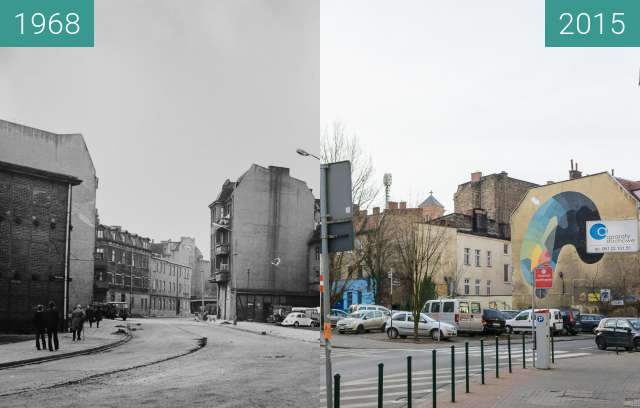 Before-and-after picture of Ulica Poznańska between 1968 and 2015