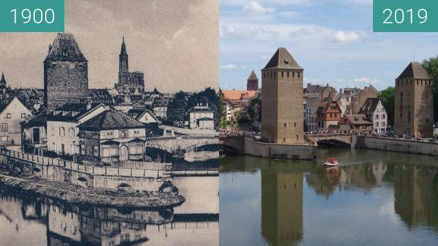 Before-and-after picture of Ponts couverts between 1900 and 2019-Aug-08