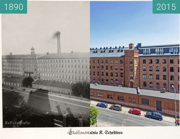 Before-and-after picture of Karl Scheibler's spinning mill in Lodz between 1890 and 2015