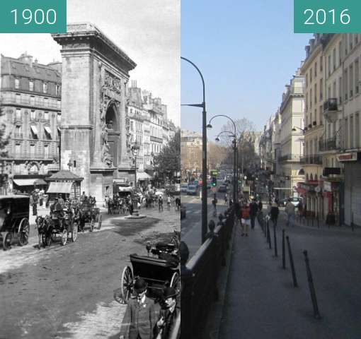 Before-and-after picture of Boulevard de la Bonne Nouvelle between 1900 and 2016-Mar-13