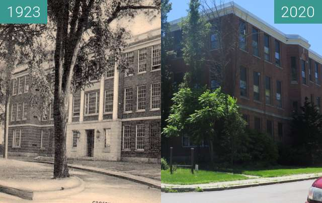 Before-and-after picture of Crosby High School/ Crosby Center - Belfast, Maine between 1923 and 2020-Jul-16