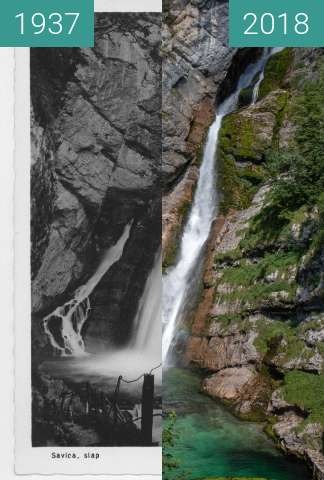 Before-and-after picture of Savica Waterfall, Slovenia between 1937 and 2018-Jul-17