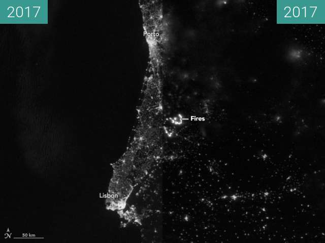Before-and-after picture of Wildfires Light Up Portugal between 2017-Jun-16 and 2017-Jun-19