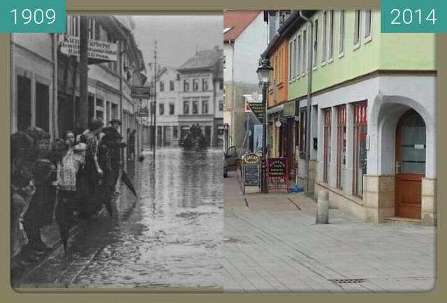 Before-and-after picture of Apolda Teichgasse     Ecke Darrstr. between 1909 and 2014