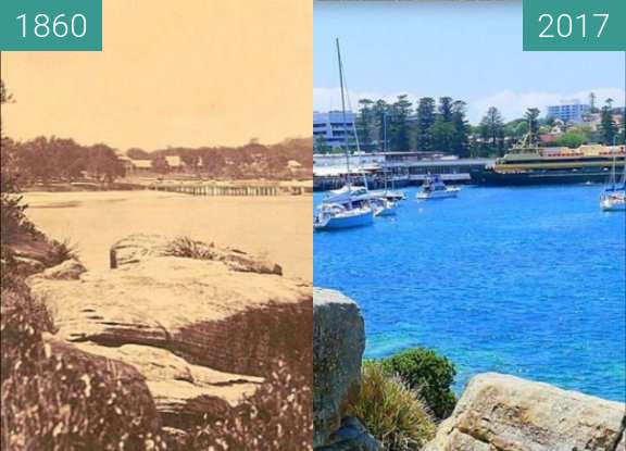 Before-and-after picture of Manly Beach between 1860 and 2017