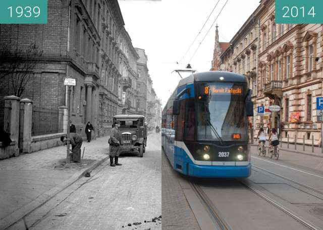 Before-and-after picture of Karmelicka street in Kraków between 1939 and 2014