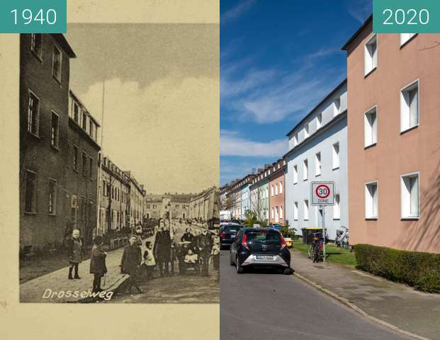 Before-and-after picture of Drosselweg between 07/1940 and 03/2020