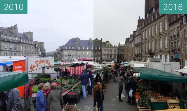 Before-and-after picture of Jour de marché à Dinan between 2010-May-20 and 2018-May-24