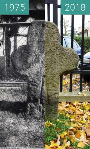 Before-and-after picture of Stone tombstone between 1975 and 2018
