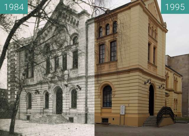 Before-and-after picture of Old  synagogue in Warsaw between 1984 and 1995