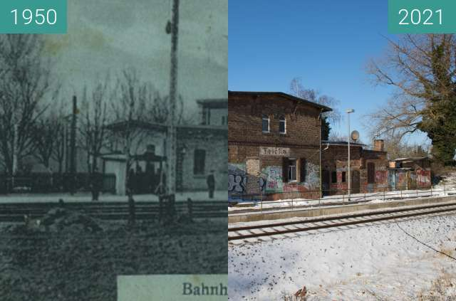 Before-and-after picture of Teicha Bahnhof between 1950 and 2021-Jan-31