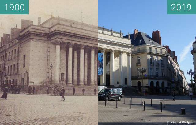Before-and-after picture of Théâtre Graslin between 1900 and 2019