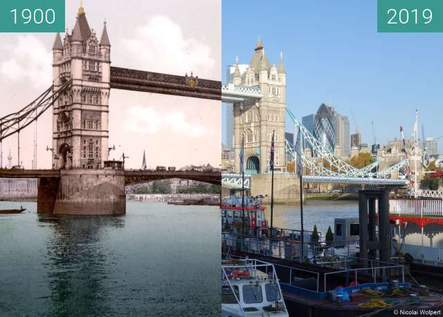 Before-and-after picture of Tower Bridge between 1900 and 2019-Nov-10