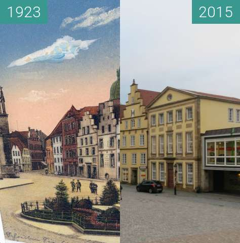 Before-and-after picture of Häuserzeile am Marktplatz between 1923 and 2015-Nov-16