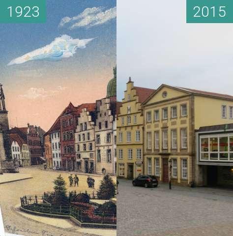 Vorher-Nachher-Bild von Häuserzeile am Marktplatz zwischen 1923 und 16.11.2015