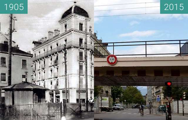 Before-and-after picture of Grenoble   Quartier de L'Aigle between 1905 and 2015-Oct-21