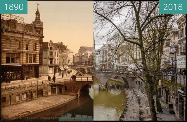 Before-and-after picture of The Oude Gracht Bakkerbrug, Utrecht, Holland between 1890 and 2018-Jan-28