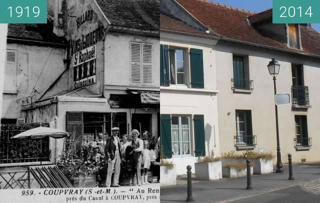 Before-and-after picture of Auberge des pêcheyrs between 1919-Jan-27 and 2014-Sep-10