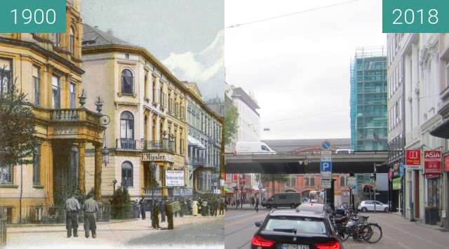 Before-and-after picture of Bahnhofstraße between 1900 and 2018-Aug-20