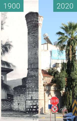 Before-and-after picture of Selçuk Akıncılar Mosque between 1900 and 2020-Oct-10