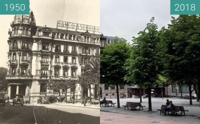 Before-and-after picture of Plaza de Porlier, Oviedo between 1950 and 2018-Jun-02