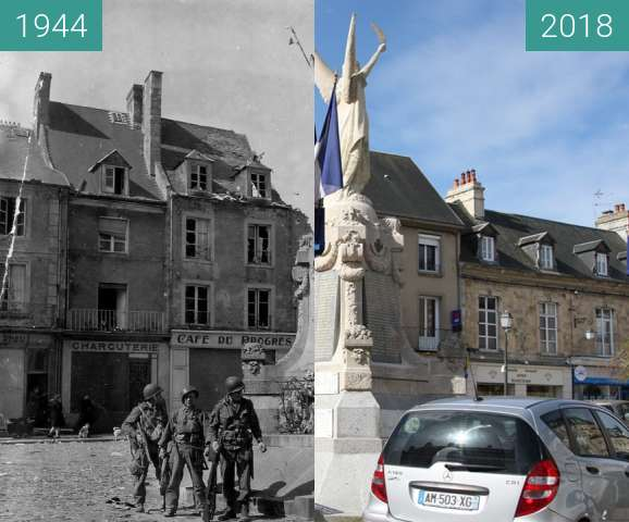 Before-and-after picture of Carentan 1944 - Normandy between 1944-Jun-15 and 2018-May-03