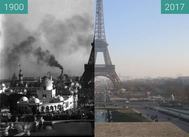 Before-and-after picture of Trocadéro/Champ de Mars between 10/1900 and 2017-Jan-26