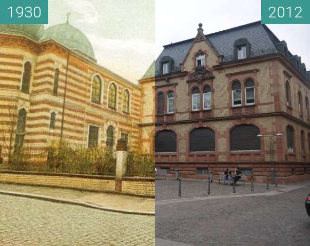 Before-and-after picture of Aschaffenburg -  Die Synagoge between 1930 and 2012