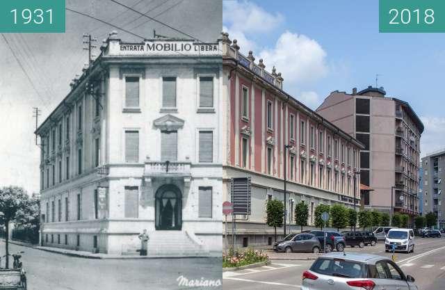Vorher-Nachher-Bild von Palazzo Esposizioni Mobili, Mariano Comense zwischen 1931 und 02.06.2018
