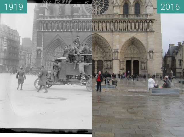 Before-and-after picture of Notre-Dame between 1919-Mar-19 and 2016-Jan-10