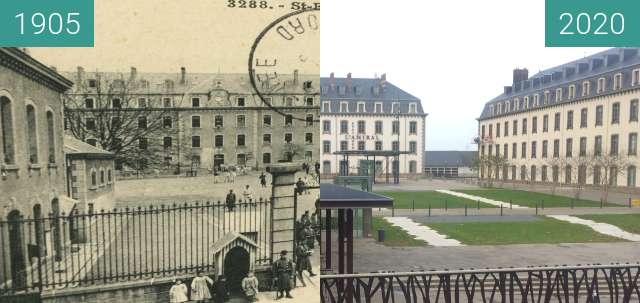 Before-and-after picture of Saint-Brieuc- Boulevard et Caserne Charner between 1905 and 2020-Nov-15