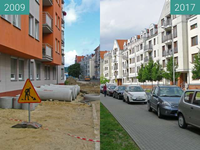 Before-and-after picture of Poznań Szyperska 13 between 2009-Aug-13 and 2017-May-06