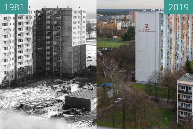Before-and-after picture of Osiedle Jana III Sobieskiego between 1981 and 2019