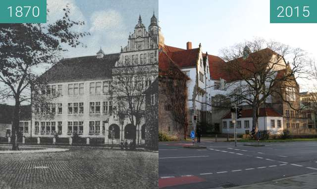 Before-and-after picture of Ratsgymnasium between 1870 and 2015-Dec-30