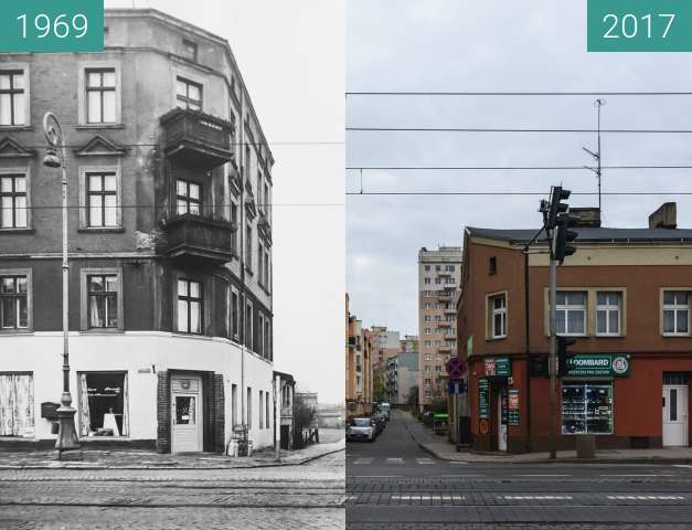 Before-and-after picture of Ulica Kosynierska, od Głogowskiej between 1969 and 2017-Nov-18