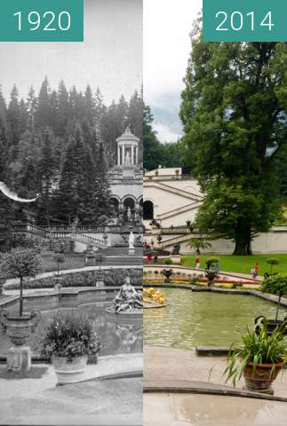 Before-and-after picture of Schloss Linderhof - Venustempel between 1920 and 2014-Jul-26