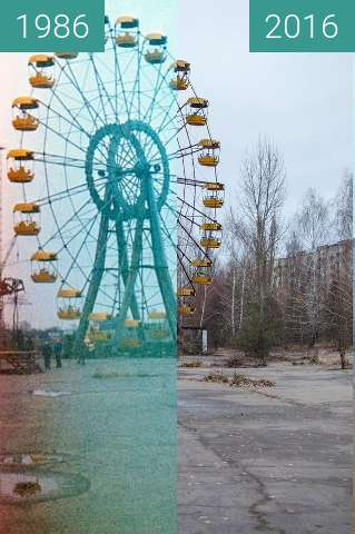 Before-and-after picture of Pripyat, Rajon Tschornobyl, Ukraine between 1986 and 2016