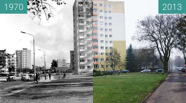 Before-and-after picture of Poznań, ulica Rycerska przy Marcelinskiej  between 1970 and 2013-Dec-13