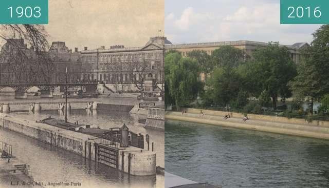 Before-and-after picture of Seine from Pont-Neuf between 1903 and 2016-Sep-22