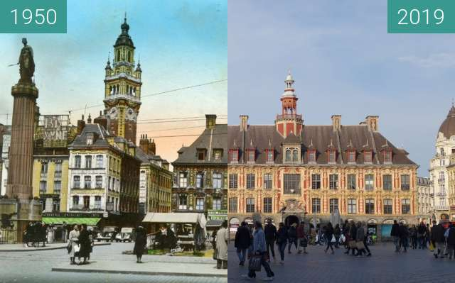 Before-and-after picture of Place du Général-de-Gaulle between 1950 and 2019-Apr-06