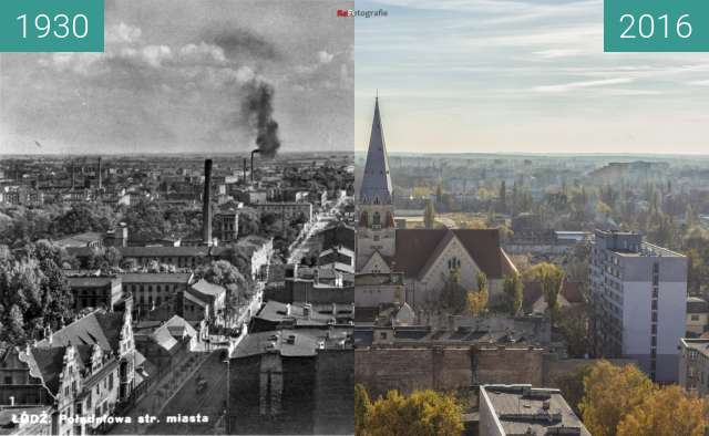 Before-and-after picture of View south from Łódź Cathedral. between 1930 and 11/2016